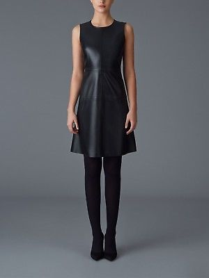 New Special Summer Women's Empire Style Round Neck Genuine Mini Leather Dress