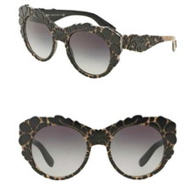 Dolce&Gabbana Floral Relief Sunglasses Black + Tissue Brown Hand Applied... - $208.34