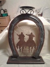 """New !!  Metal.  Western, Cowboys.  Candle Holder.  Size :  8"""" by 11 1/2"""" - $21.77"""