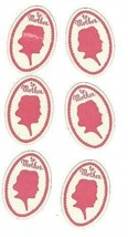 """6 Vintage Unused Oval Stickers of """"Mother"""" in Red Profile - $0.99"""