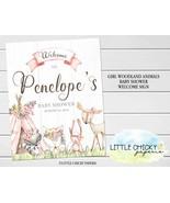 Girl Woodland Animals Baby Shower Welcome Sign, Pink Boho Teepee Woodlan... - $9.95+