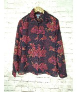 Notations clothing Co black/orange/floral button-down long-sleeve blouse... - $1.34