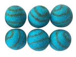 Lot of 6x 100% Wool Felted Cat Ferret Small Dog Ball Toy - $7.98