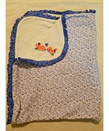 Carters Just One You Baby Blanket Blue White Birds Flowers Polka Dots Ru... - $20.77