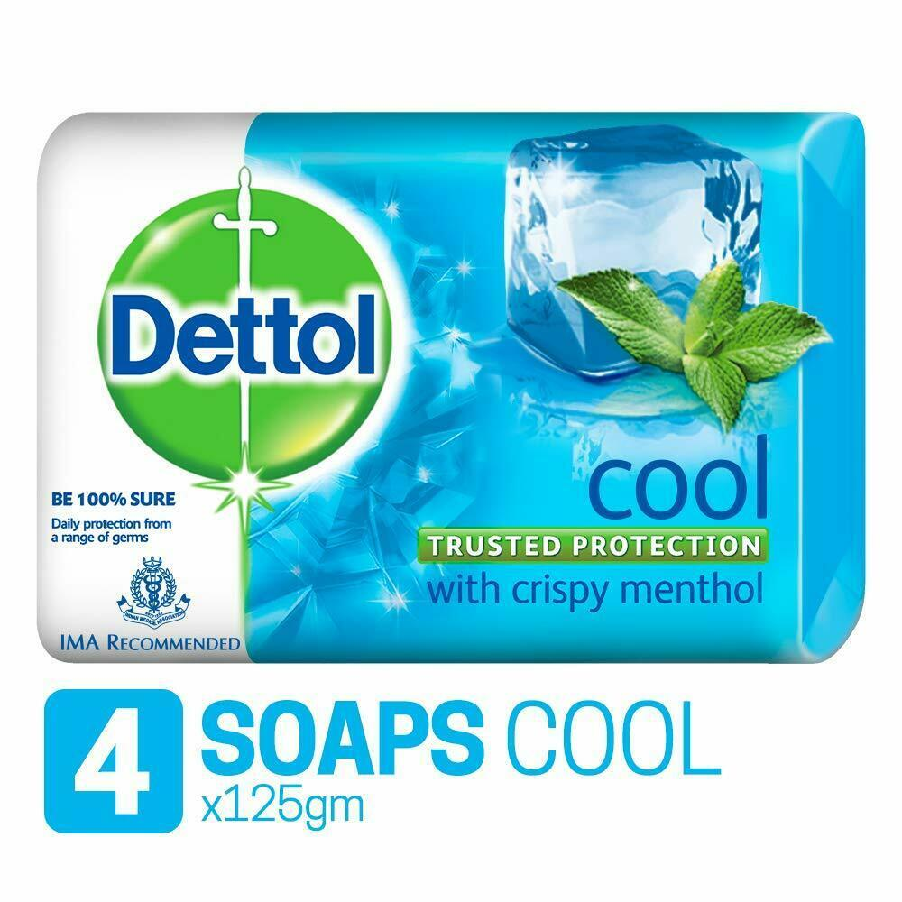Primary image for Pack of 4 Dettol Cool Bathing Bar Soap 125 Gram Each Free Shipping From India