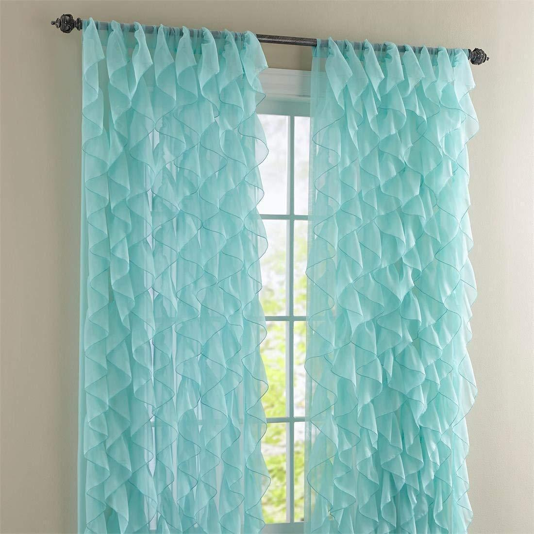 "Two (2) Cascade Ruffled Curtain Panels, each 50"" wide by 63"" long, Sea - $51.98"