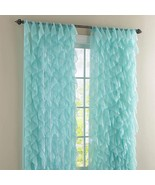 """Two (2) Cascade Ruffled Curtain Panels, each 50"""" wide by 63"""" long, Sea - $51.98"""