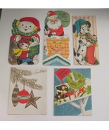 Vintage Christmas Cards Lot of 5 Cute Snowman Santa Dalmatian Dog Ornaments - $8.90