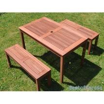 Outdoor Dining Picnic Table 2 Benches Set Garden Backyard Patio Wooden Furniture image 2