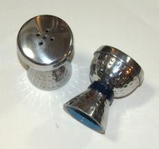 Salt and Pepper Shaker Set Anodized Aluminum Hammered Blue Clasp Enamel  image 2