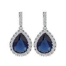 Blue Cubic Zirconia Wedding Big Drop Dangle Earrings for Women Bridal - $12.86