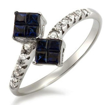 18K White Gold Diamonds and Sapphire Engagement Ring Size 6.5 »N120 - $326.78