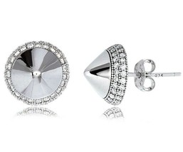 Sterling Silver CZ Signity Spike Double Row Halo Martini Post Stud Earrings - $37.61
