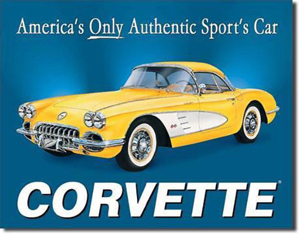 Corvette Yellow 1958 Vette America's Only Authentic Sports Car Metal Sign