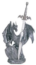 "15"" Inch Dragon Statue with Sword and Shield Figurine Figure Fantasy - $45.00"