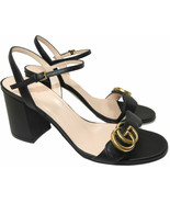 Gucci Black Leather GG Marmont Sandals 35 Heels Ankle Strap Shoes - $345.00