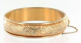 Vintage Napier Repousee Raised Curled Leaf Design Gold Tone Bangle Brace... - $53.99