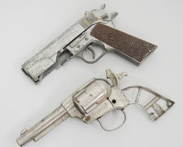 Vintage Toy Cap Guns Lot of 2 Nichols Silver Colt and National For Parts... - $9.99