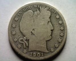 1901 Barber Half Dollar About Good / Good AG/G Nice Original Coin Bobs Coins - $20.00