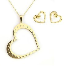 UNITED ELEGANCE Heart Pendant Necklace With Swarovski Style Crystals & Earrings  - $22.99