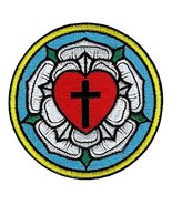Luther Rose Embroidered Patch Lutheran Church Seal Iron-On Christian Emblem - $4.29