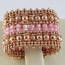 925 Silver Ring Rose Gold Plated, Top & Balls, Pink Quartz image 2