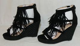 BF Betani Shiloh 8 Black Fringe Wedge Heel Sandals Size 7 And Half image 3