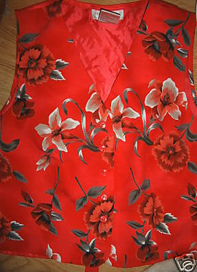 Ladies Red Linen Vest Worthington Size S White Flowers Bright Colorful Work NEW