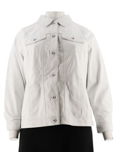 Denim & Co Lamb Leather Jean Jacket Soft White XXS NEW A272640 - $139.57