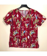 Disney Tinkerbell Christmas Holiday Scrub Top Med Im There With Bells On - $19.79