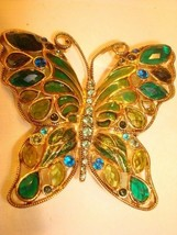 Vintage Large Monet Rhinestone, Enamel, and Stained Glass Enameling GP B... - $16.82