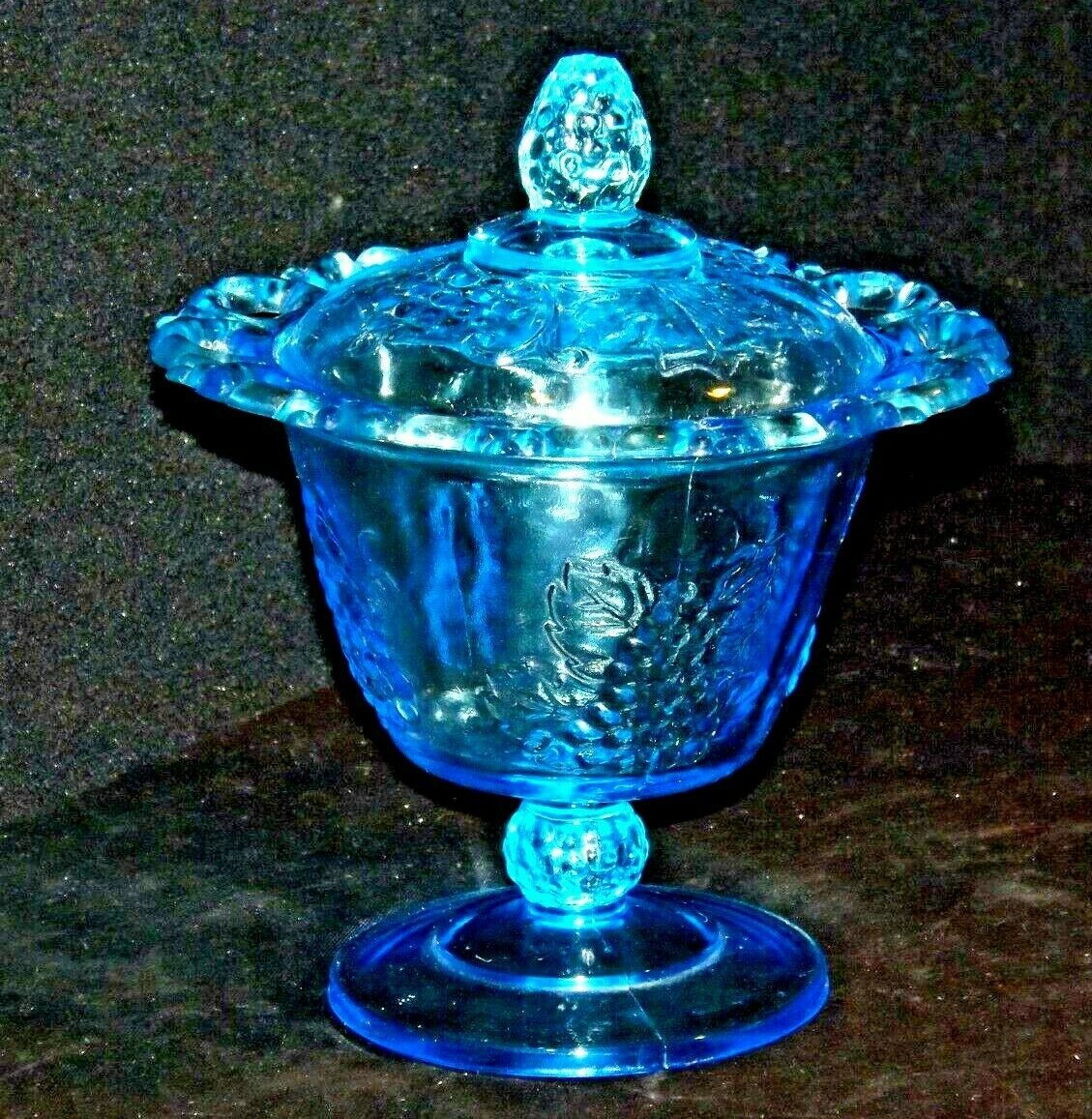 Blue Pedestal Candy Compote Depression Glass 2 piece AA19-CD0025 Vintage