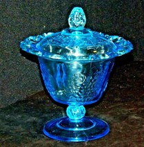 Blue Pedestal Candy Compote Depression Glass 2 piece AA19-CD0025 Vintage image 1