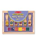 Melissa & Doug Happy Handles Wooden Stamp Set: 6 Stamps and 6-Color Stam... - $9.79