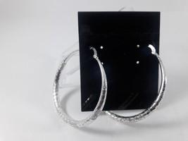 Charter Club Women's Silver Tone Hammered Hoop Earrings - $8.42