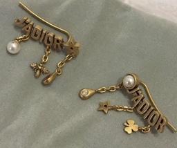 Authentic Christian Dior 2019 J'ADIOR CD Logo Multi Charm Dangle Earrings Gold image 5