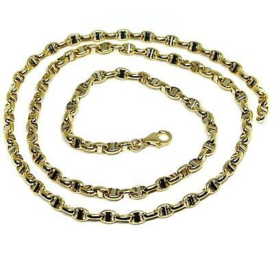 """18K YELLOW WHITE GOLD CHAIN SAILOR'S NAUTICAL MARINER BIG OVAL 4mm LINK, 20"""""""