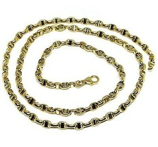 """18K YELLOW WHITE GOLD CHAIN SAILOR'S NAUTICAL MARINER BIG OVAL 4mm LINK, 20"""" image 1"""
