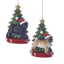 Pug w/Tree Ornament - $14.95