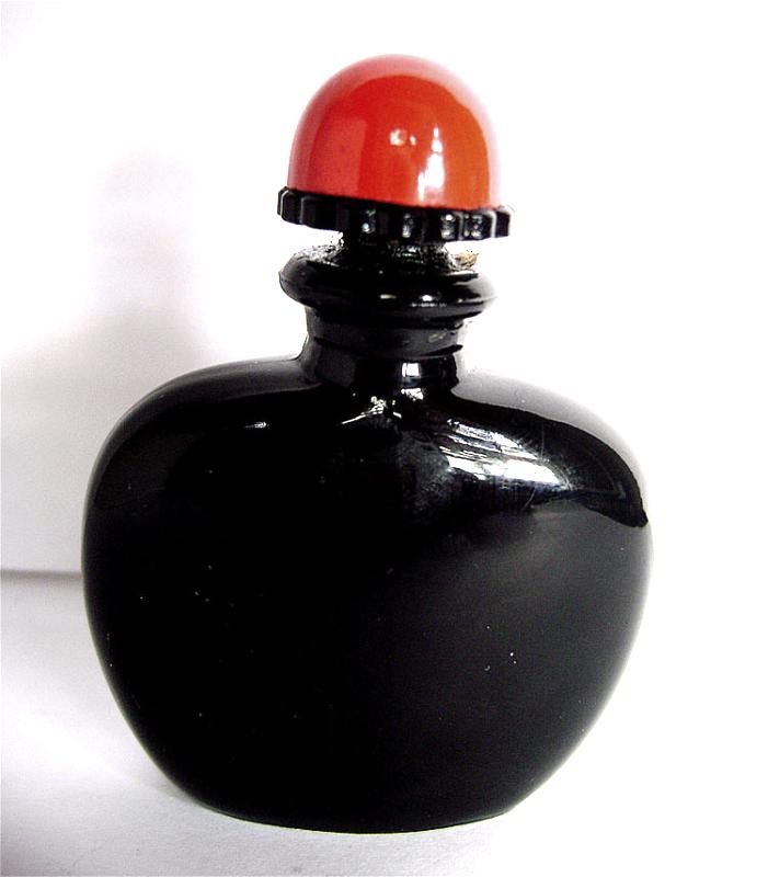 Vintage Joy Jean Patou Black Glass Red top Miniature Perfume Bottle