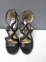 MICHAEL MICHAEL KORS Black Leather Strappy Back Zipper Heels Size 9.5 B3588 - $30.76