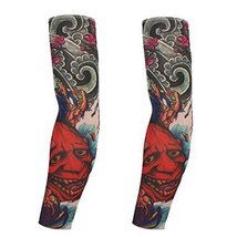 PANDA SUPERSTORE 1-Pair Monster Temporary Tattoo Sun Sleeves Body Art Arm Covers