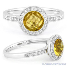 1.39ct Round Citrine Diamond Pave Halo Setting Engagement Ring in 14k Wh... - £379.64 GBP