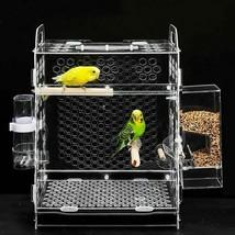 Transparent Bird Parrot Breeding Cage Small Acrylic Pet Hatching Birdhou... - £51.04 GBP+