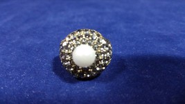 Heidi Daus Bronze Ring Center Set White Faux Pearl Surrounded by Black C... - $149.99