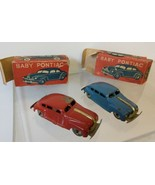 """Masudaya Baby Pontiacs - Red & Blue - 3"""" windup toy cars with boxes - $140.00"""