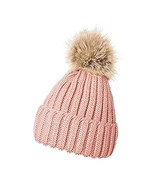 Pink Hats for Women Ear Fashion New Cuff Design Slouchy Pompom Tkmiss - $17.82