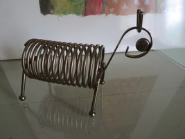 Vintage  Brass Wire Record 45 or  Letter Holder - Animal Figure Dog Ball... - $17.82