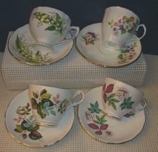 Vintage Lot of 4 BONE CHINA TEA CUPS & SAUCERS Colclough Queen Anne etc ... - $28.52