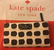 KATE SPADE STACY GROVE STREET PRINTED CREDIT CARD WALLET CLUTCH CASE BLA... - ₨4,100.45 INR